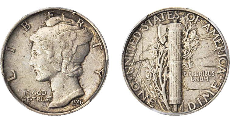 1916 Winged Liberty Head dime pattern