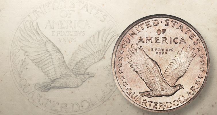 Take a closer look at these Standing Liberty quarter dollar sketches