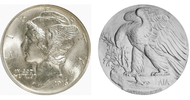 Winged Liberty Head dime obv, cast of AIA gold medal rev merge for palladium