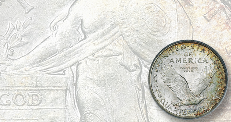 This 1916 quarter dollar shows Miss Liberty with a full head and uncovered breast.