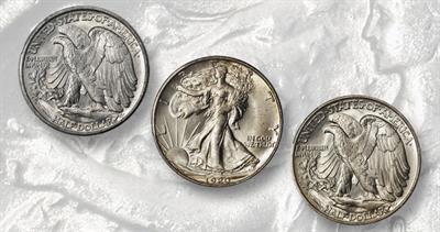 1920 and 1921 Denver Mint Walking Liberty half dollars