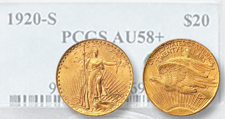 1920-S Saint Gaudens $20 one of the few to escape melting pot