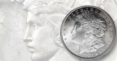 1921 Morgan and Peace dollars