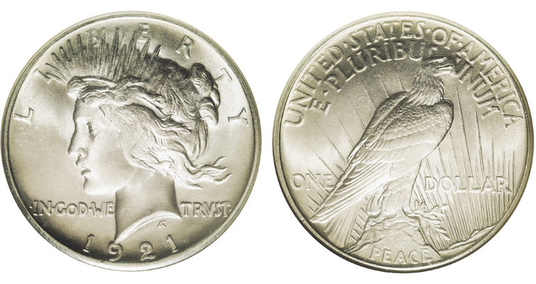 "The model for the Peace dollar wrote that when President Harding previewed the coin's design he ""maintained that he preferred a dimpleless Liberty, because the dimpled variety did not exactly express peace."" Such wicked dimples..."