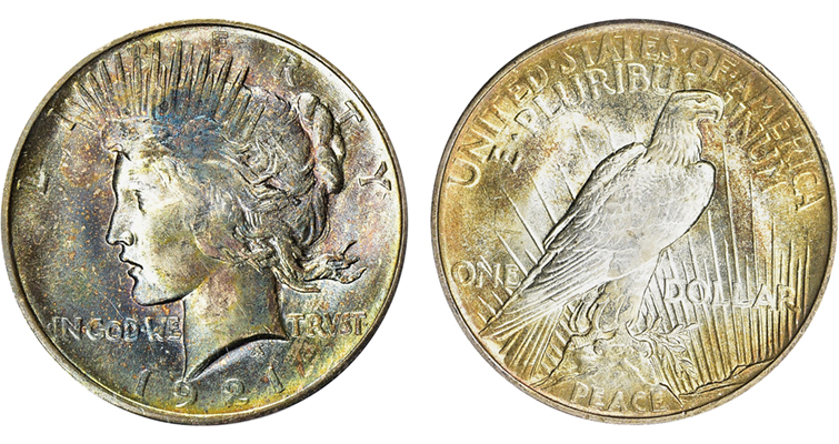 unusually toned MS-64 1921 Peace dollar from Dale Larsen's collection