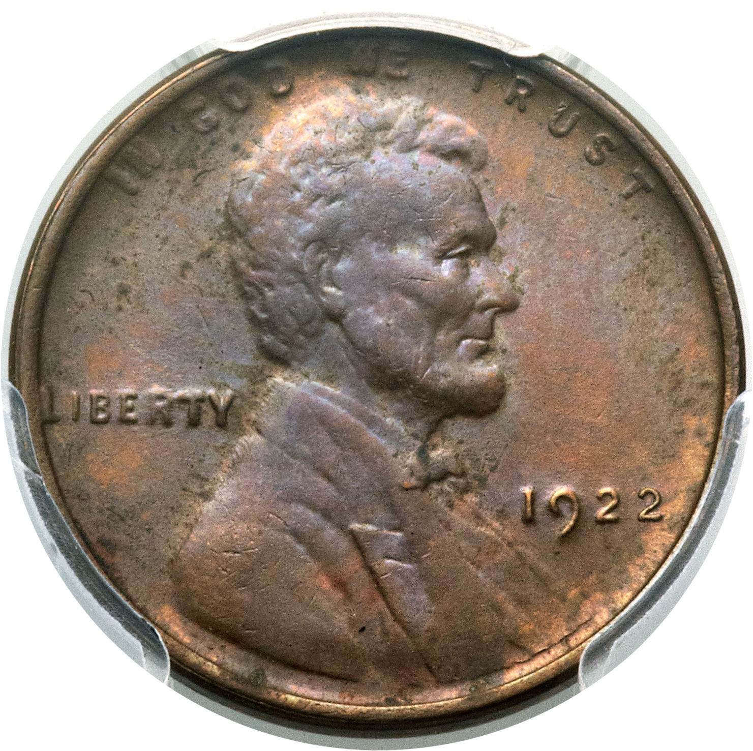 This brown Mint State 63 1922 No D, Strong Reverse cent, graded by the Professional Coin Grading Service, sold for $15, 275 at auction in June 2015. Image courtesy of Heritage Auctions.