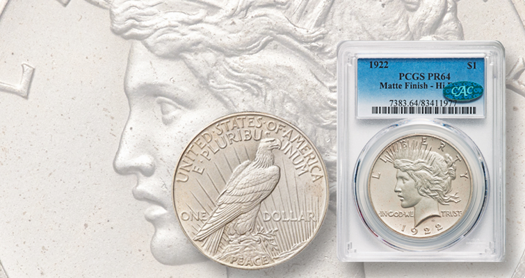 Matte Proof 1922 Peace, High Relief silver dollar