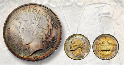 1923 Peace dollar and 1943-S five-cent