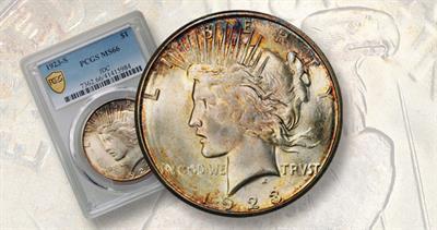 1923-S Peace dollar toned