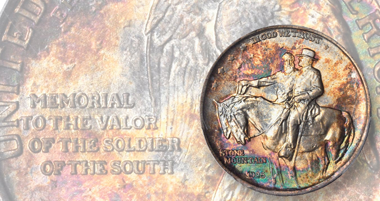 Toned Stone Mountain half dollar