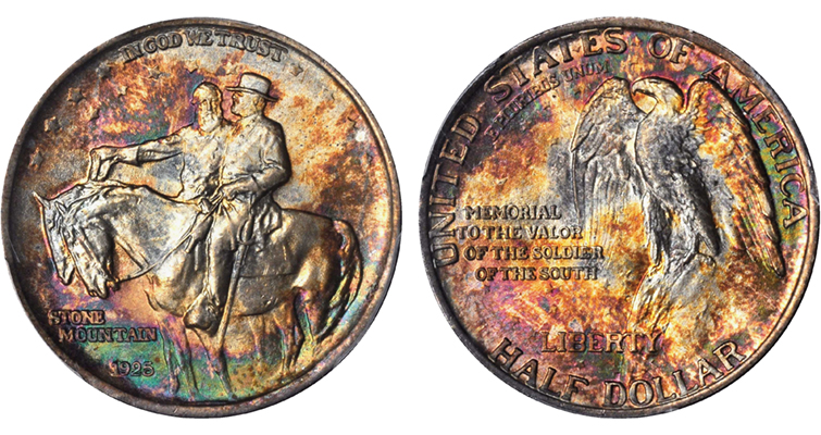 Toned 1925 Stone Mountain half dollar obverse and reverse