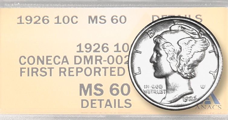 ANACS confirms, grades first example of 1926 Doubled Die Obverse dime