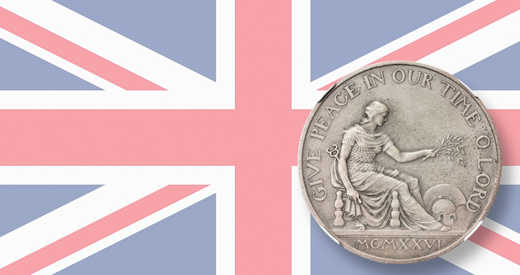 Pattern for United Kingdom's version of Peace dollar in sale