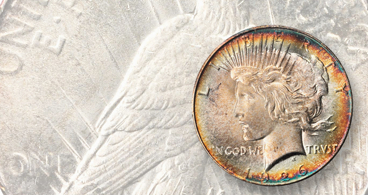 1926 Peace dollar with rainbow toning sells at Whitman Baltimore Expo: Market Analysis