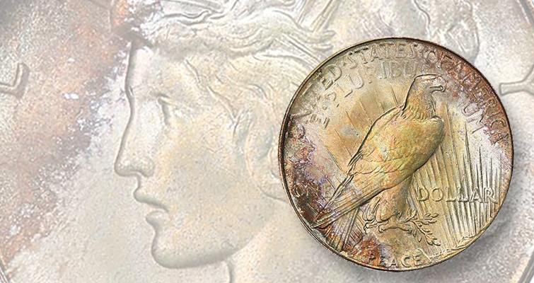 Unusually attractive toning on 1927-S Peace dollar boosts price
