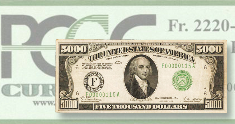 Series 1928 $5,000 Federal Reserve note