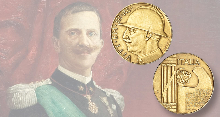 Italian 1928 gold 100-lira-sized medal commemorates 10 years since end of WWI