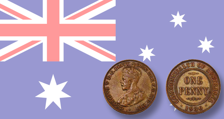 1930-australia-penny-and-flag