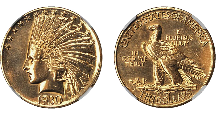 1930-S Indian Head $10 eagle obverse and reverse