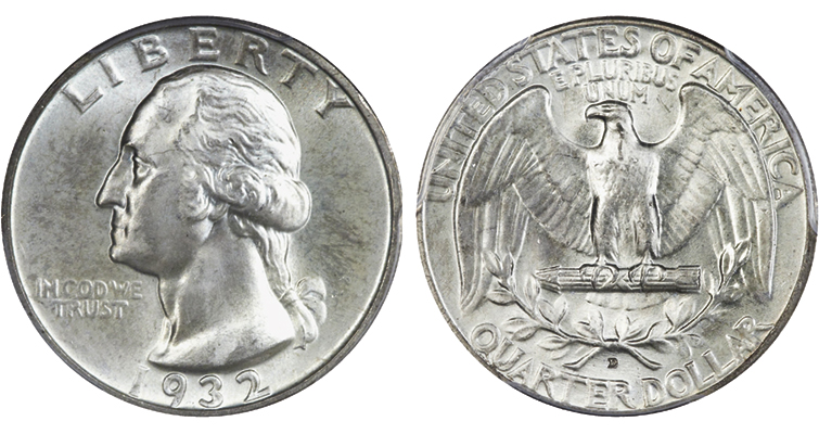 This 1932-D Professional Coin Grading Service Mint State 66 Secure Washington quarter dollar sold for $82,250 at Heritage Auctions' 2015 Long Beach show.