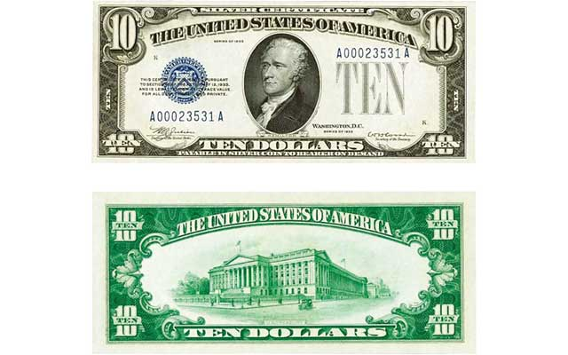 Series 1933 $10 silver certificate