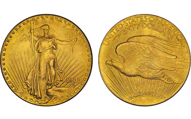 The government has asked for a rehearing of the April 17 decision of a three-judge panel in the Court of Appeals for the Third Circuit awarding 10 1933 double eagles to the Langbord family. Illustrated is one of the 10 coins in dispute. Images by Tom Mulvaney courtesy of U.S. Mint.