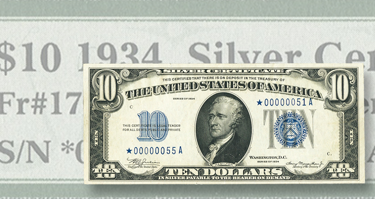 Mismatched serial numbers (and a star) make Series 1934 $10 silver certificate special