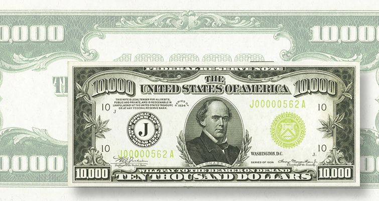 $10,000 Series 1934 Federal Reserve note
