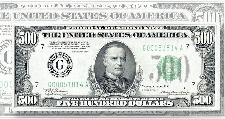 $500 Federal Reserve note