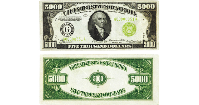Series 1934 Chicago district $5,000 Federal Reserve note