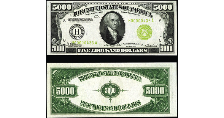 Series 1934 $5,000 Federal Reserve note