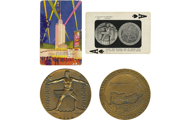 A playing card for the 1933 and 1934 Century of Progress Exposition in Chicago shows the official exposition medal, what collectors classify as a so-called dollar.