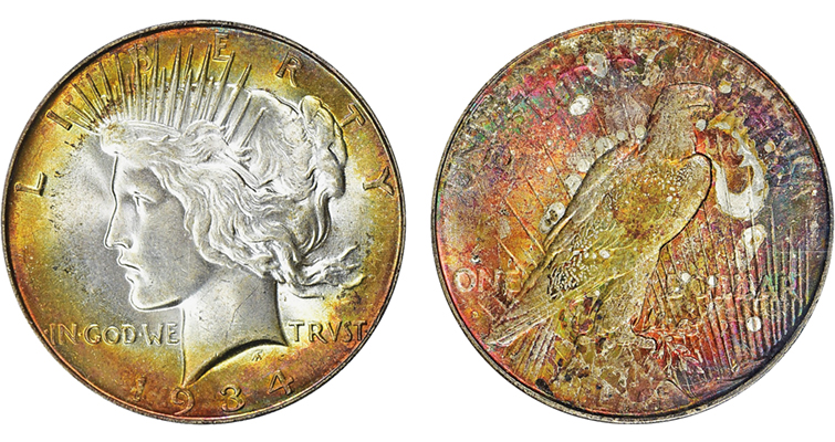 merged Larsen Collection toned 1934-D Peace dollar