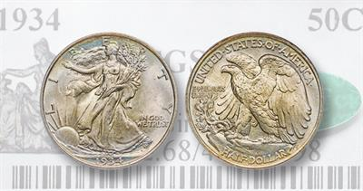 1934 Walking Liberty half dollar