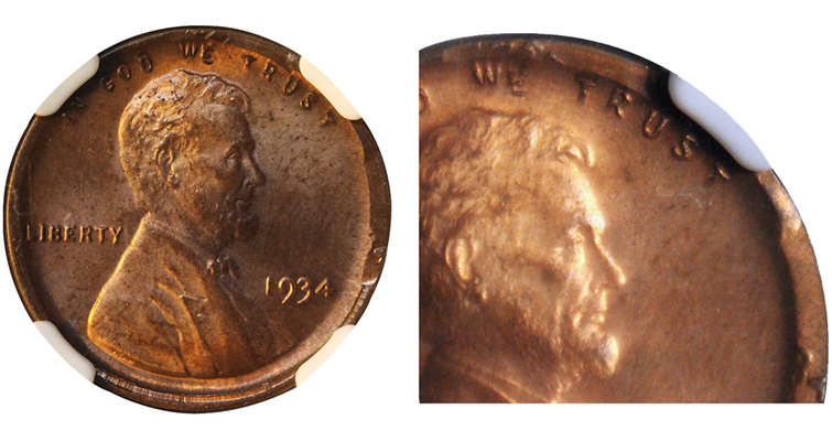 1934 Lincoln cent 50 percent off center