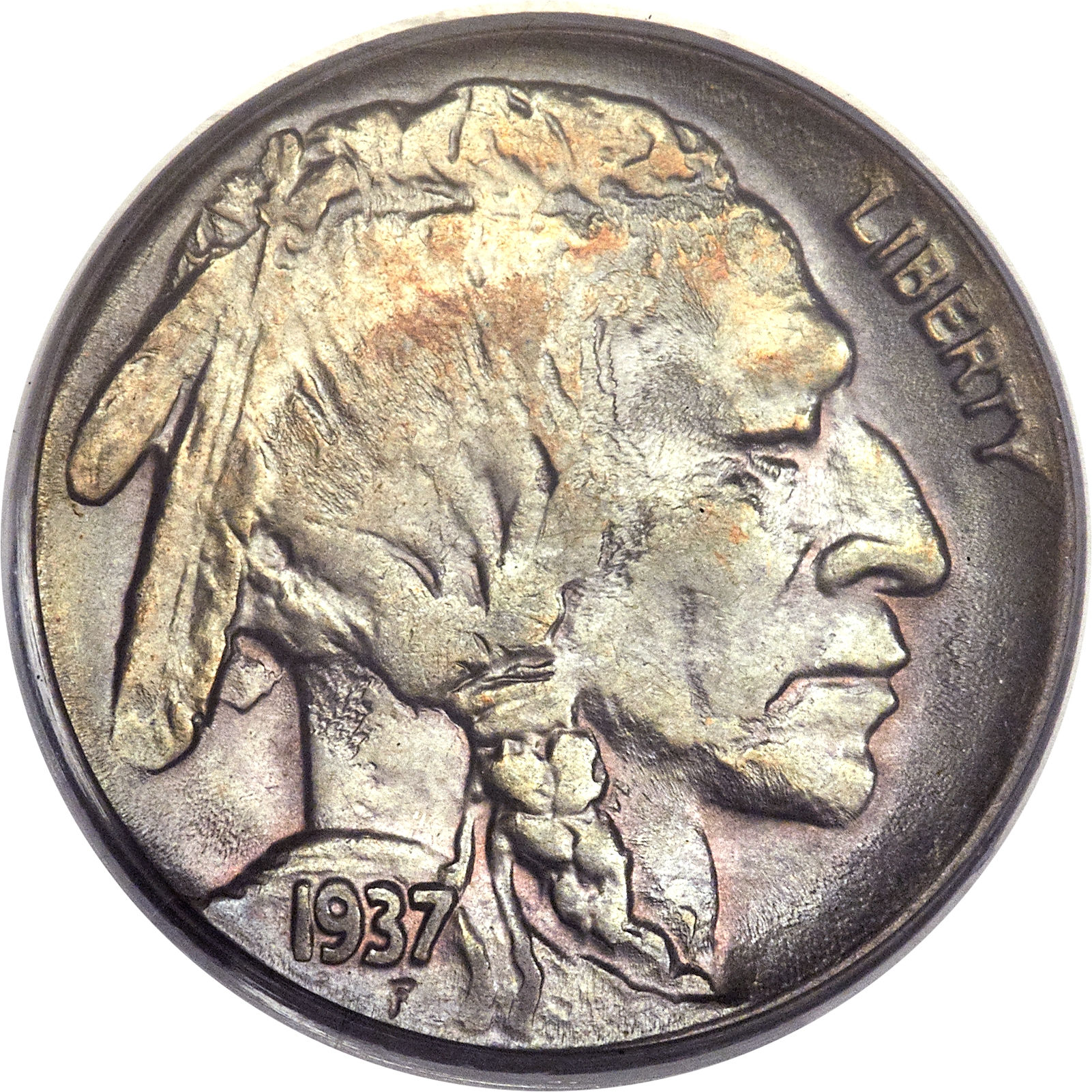 A die clash that left part of the Indian's head imprinted in the reverse die for the 1937-D 5-cent piece prompted polishing by an enthusiastic Mint worker. A little too much enthusiasm, it seems, costing the  buffalo on the reverse part of its leg. This PCGS MS-63 coin sold for $4,700 in June 2015.  Heritage Auctions