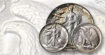 1942 and 1943 Walking Liberty half dollars