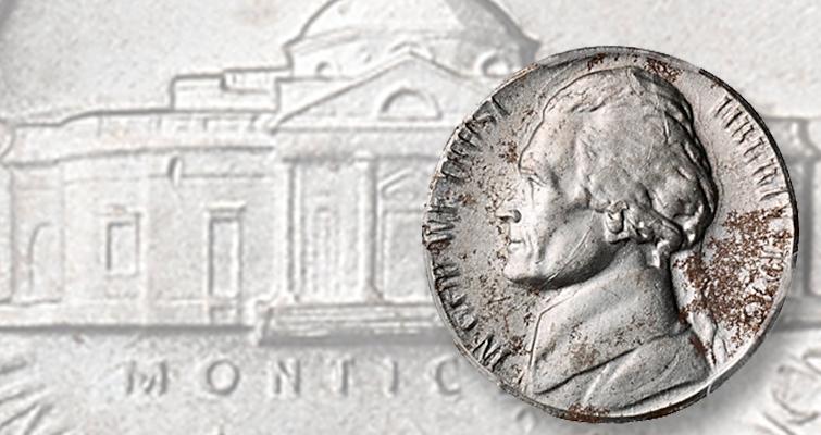 When a 1943-S Jefferson 'nickel' is struck on a zinc-coated
