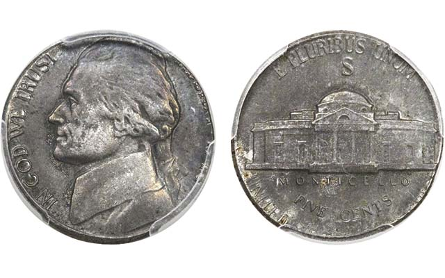 Jefferson 'nickel' struck with steel among popular wartime errors