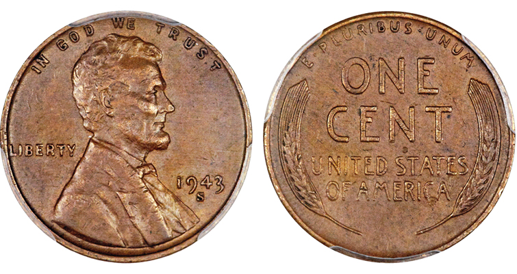 1943-S Lincoln cent struck on a bronze planchet
