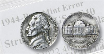 1944 5-cent coin on zinc-coated cent planchet