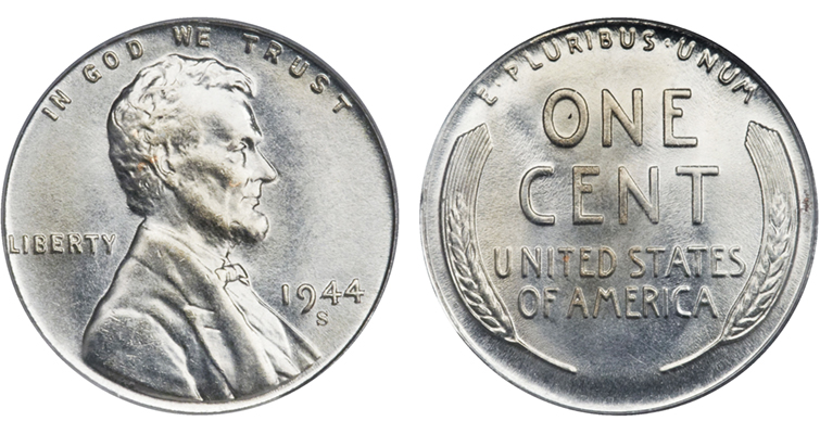1944-S Lincoln cent struck on a zinc-coated steel planchet
