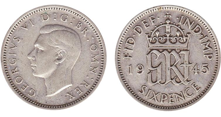 1945-british-silver-sixpence