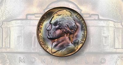 1945 full steps Jefferson 5-cent