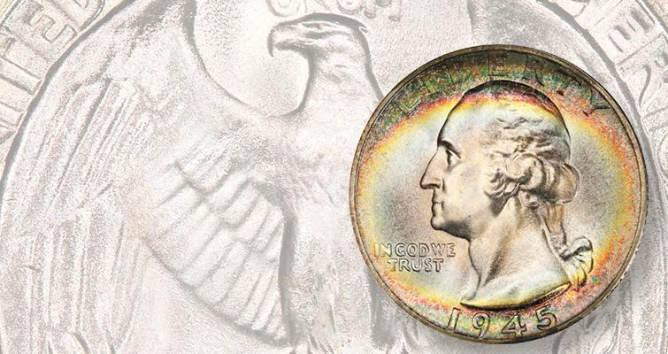 1945-S quarter dollar in Mint State 67