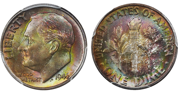 This 1946 PCGS MS-68 dime with full split bands sold for $4,230 at Heritage Auctions' 2015 Long Beach sale.