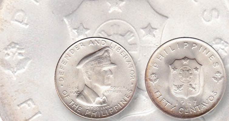 Gen. Douglas MacArthur appears on a 1947-s silver 50-centavo coin.