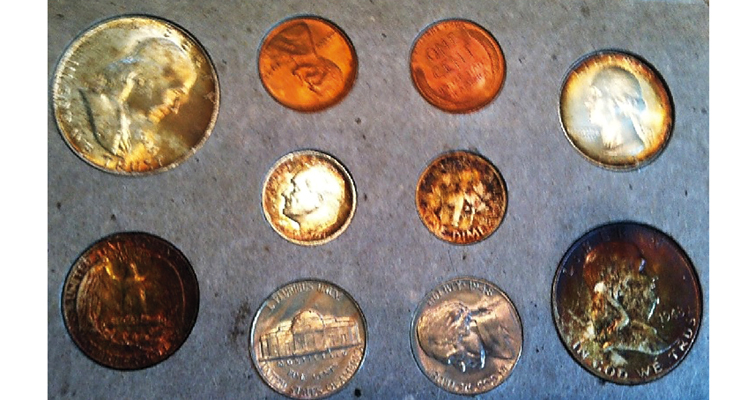 Screen shot of toned coins offered as a 1948 Double Mint set. Bugeja says