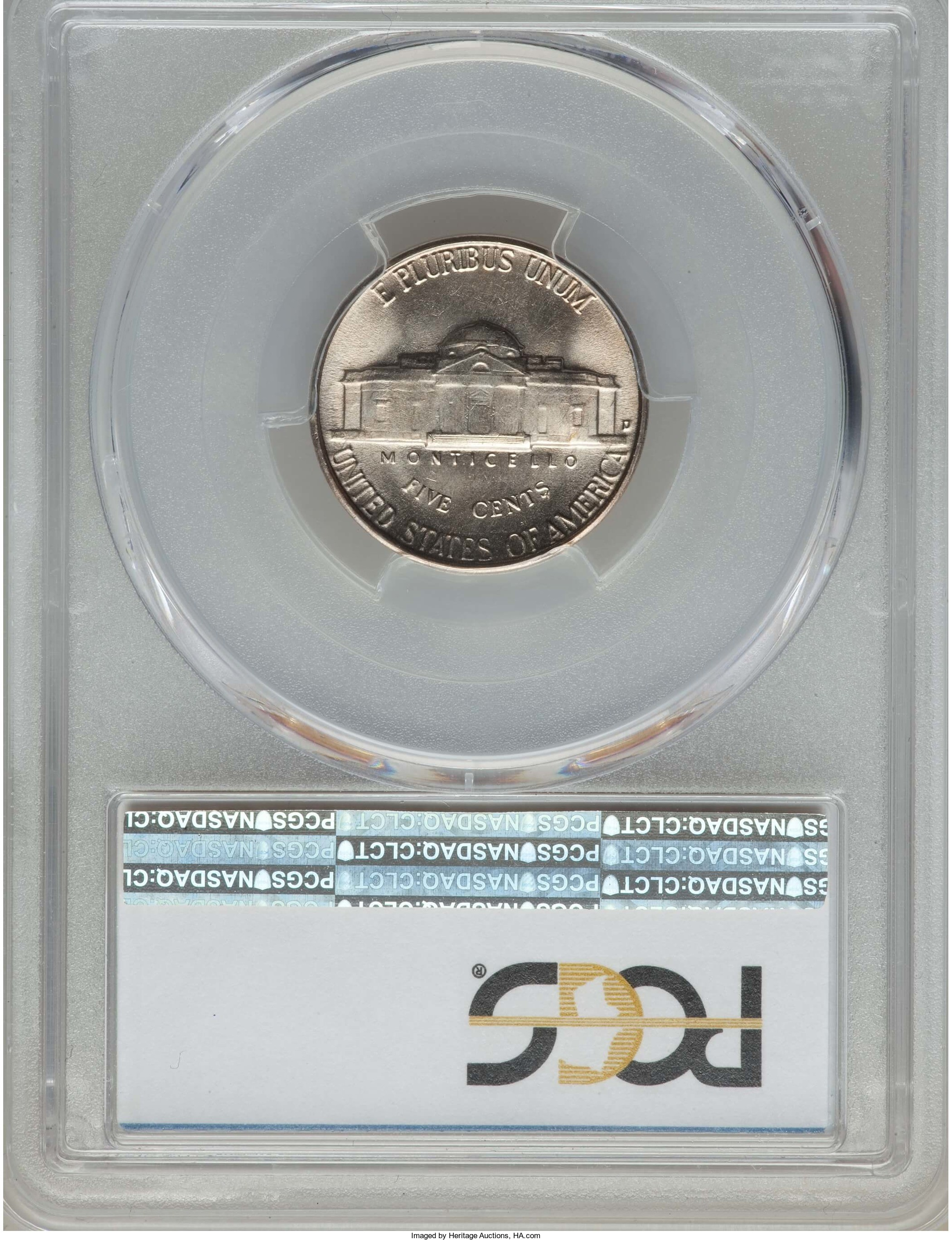 High grade 1950-D 5-cent pieces are genuinely scarce. This PCGS MS-66 coin with full steps on Monticello on the reverse sold for $104 at a February Heritage auction.
