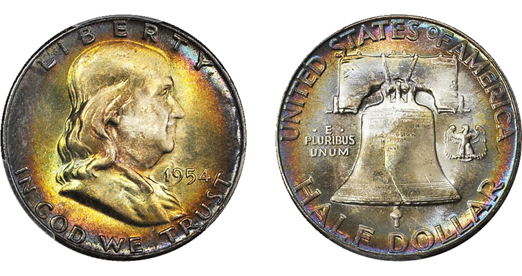 1954 Franklin half dollar obverse and reverse
